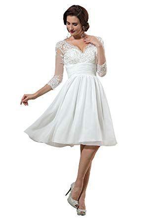 kurzes brautkleid mit Ärmeln  hochzeitskleid2019  hochzeitskleid brautkleid brautkleid knielang