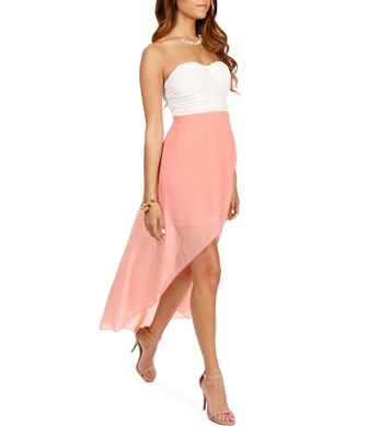 White/Peach Strapless Hi Low Dress  graduation dress?
