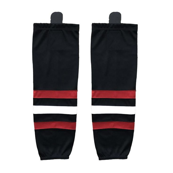 [Visit to Buy] COLDINDOOR 100% Polyester all hockey teams name black Ice Hockey Socks Cheap Shin Guards XW019 #Advertisement