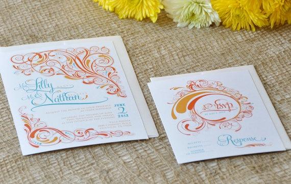 Spring Soirée Wedding Invitation & RSVP by KellaCompany on Etsy, $3.50....makes me think spring!