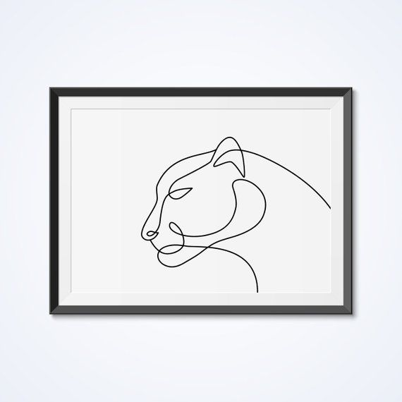 PRINTABLE Abstract Panther Line Drawing, One Line Art, Panther Art Poster, Simple Art, Black & White – Etsy
