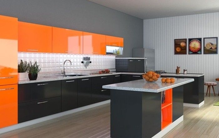 Simple wohnideen k che in orange und schwarz bilder wanddeko k cheninsel obst waschbecken Kitchen cabinets Pinterest Kitchens