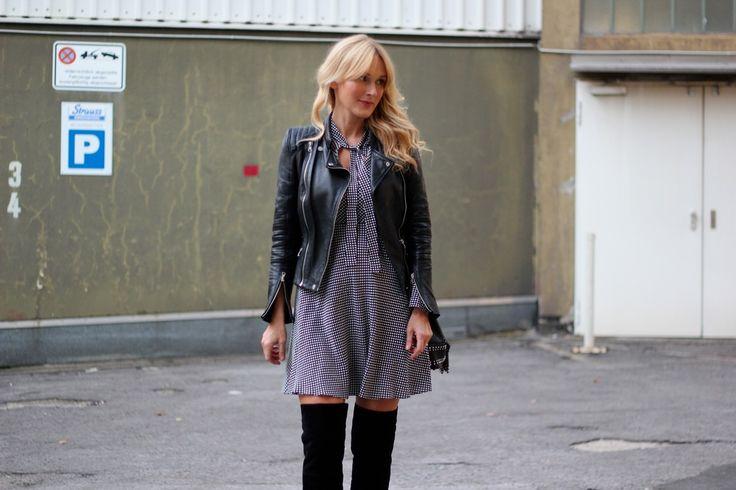 Nowshine. Ein Fashion und Lifestyle Blog für die Frau Ü30 und Ü40.: Dinner Date Outfit: Dress, Biker Jacket, Overknee Boots