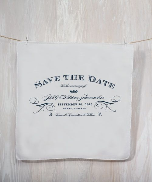 Save The Date Personalized Handkerchief. I Am Liking These