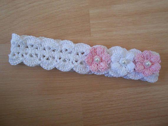 Bandeau bébé fille au crochet dentelle fleur blanche / bandeau cheveux / accessoires pour cheveux   – diadema bebé