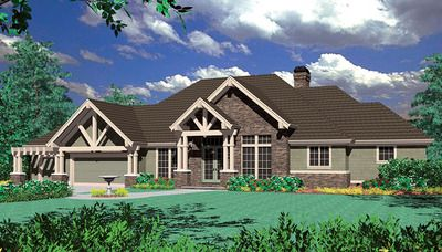 <ul><li>Taking a twist on Craftsman detailing, this hillside home plan is perfect for lots that slope to the back. Stone accents on the facade complement cedar shingle siding; a double door entry features a transom window above.   </li><li>The main level contains open gracious living spaces surrounding a central gallery. A formal dining room is to the left of the gallery and features access to the kitchen through a butler's pantry with a wine rack. A more priv...