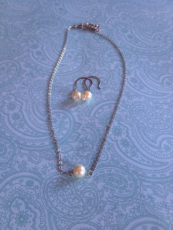 Pearl Glass Bead Earring and Necklace Set by BeyondtheWire on Etsy