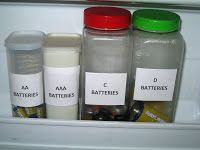 Batteries last longer if stored in the freezer. The perfect way to store them is in recycled plastic containers such as spice jars and drink containers