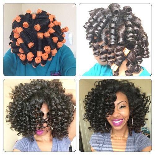 Resultado de imagem para roller set natural hair