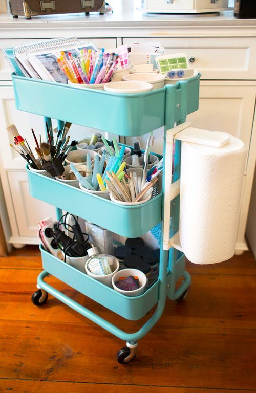 Art-Supply-Organization-1- love the paper towel roll attached to the side of her Ikea Raskog cart!