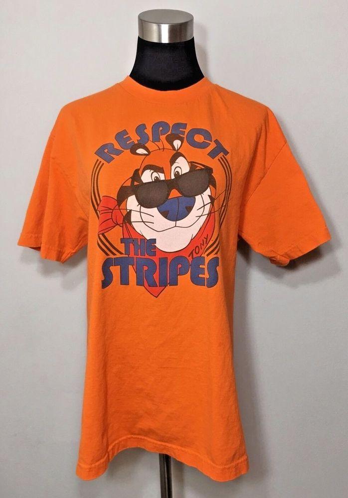 Kellogg's Size Adult L Shirt Tony The Tiger Respect The Stripes Orange Tee T #Kelloggs #GraphicTee