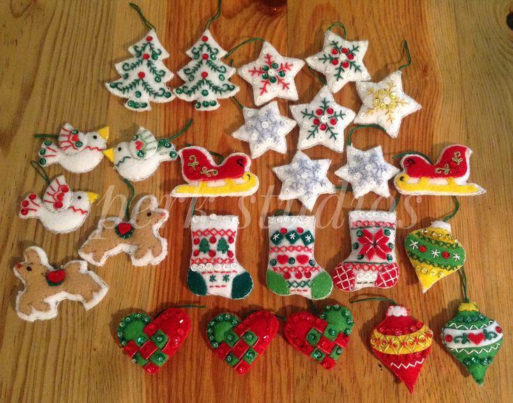 #Bucilla #Mini Felt Ornaments #handmade Christmas ornaments #Felted Appliqué #perk studios