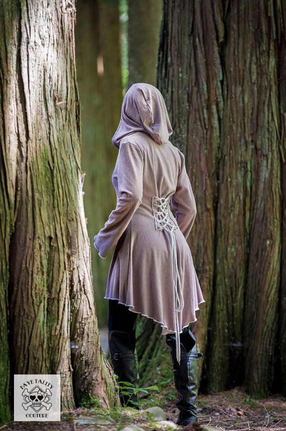 corset laced Taupe bamboo steampunk hoody par FayeTalityCouture