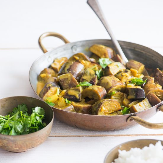 Quick and simple curry recipe with eggplant. This easy eggplant curry recipe is simmered in coconut milk.