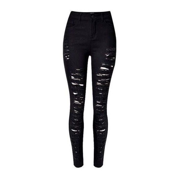 Black Extreme Ripped Skinny Jeans ❤ liked on Polyvore featuring jeans, torn jeans, destruction jeans, distressed jeans, denim skinny jeans and destroyed jeans