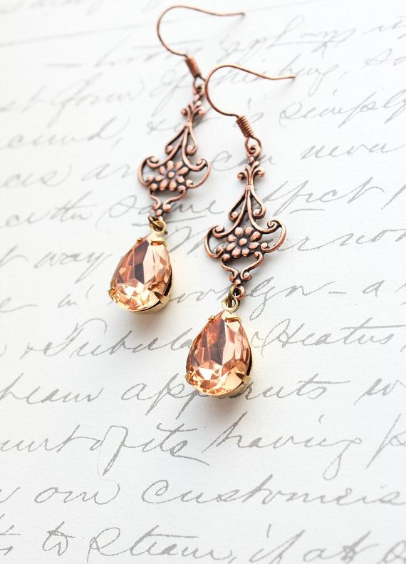 Peach Earrings Vintage Glass Copper Filigree by apocketofposies