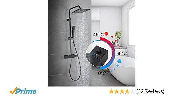 Duschgarnitur mit Thermostat Duscharmatur Regendusche Duschset Duschsäule Dusche