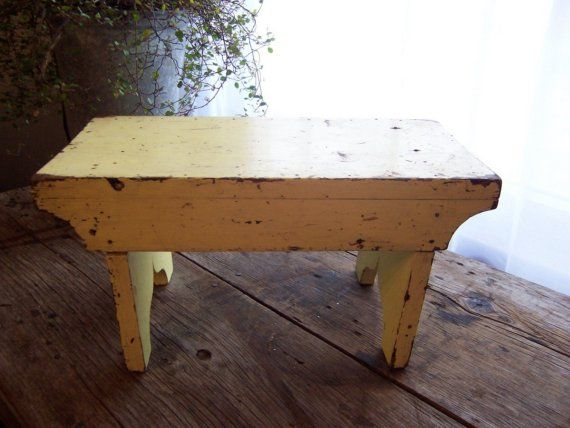 Vintage Yellow Wood Step Stool Bench Farmhouse Kitchen