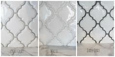 White Arabesque tile with three different colors of grout. White, black and grey.