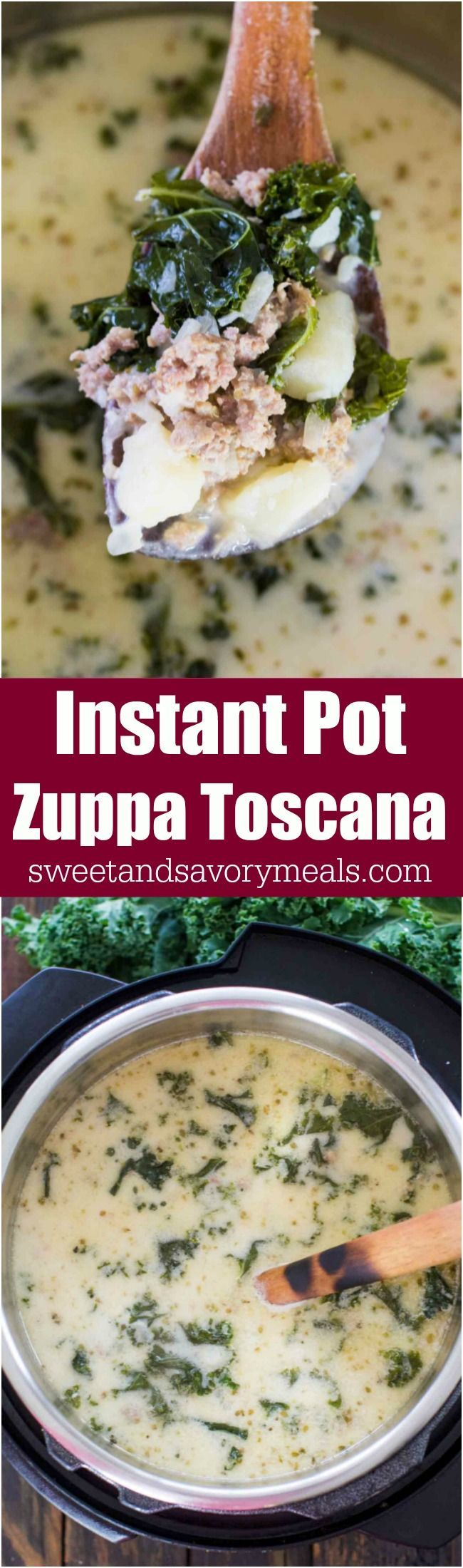 Instant Pot Zuppa Toscana is the Olive Garden Copycat easily made in the Instant Pot in just 40 minutes with budget friendly ingredients. #instantpot #olivegarden #soup #pressurecooking #copycat