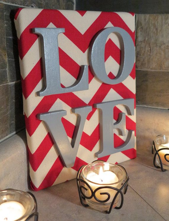 8x10 Red and Ivory LOVE Valentine's Decoration by OccasionsByKate, $14.99