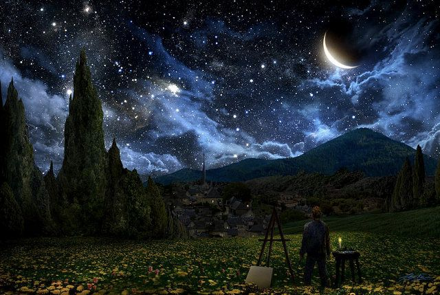 """""""Artist Alex Ruiz created this magnificent digital painting that visualizes what the night sky must have looked like when Vincent Van Gogh painted his iconic """"Starry Night"""".The Real, The Tardis, Starry Night, Vincent Vans Gogh, Doctors Who, Digital Painting, English Languages, Night Sky, Alex O'Loughlin"""