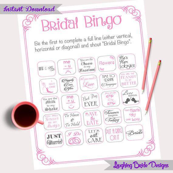 40 Bridal Shower Bingo Pink Grey By Laughingbridedesigns
