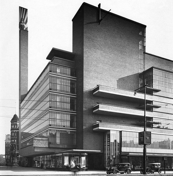 Department store 'de Bijenkorf' in Rotterdam 1930 designed by Dudok, largely destroyed in 1940, remains demolished in 1960