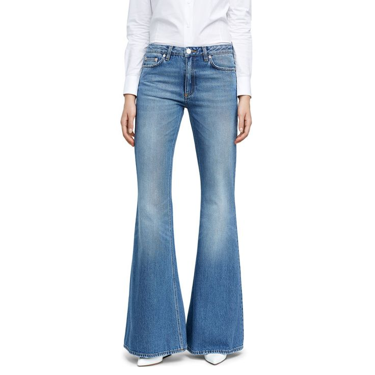 Acne Studios Mello long light vintage jeans comes with a slim fit and flared leg.