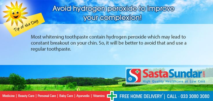 Avoid hydrogen peroxide to improve your complexion  Most whitening toothpaste contain hydrogen peroxide which may lead to constant breakout on your chin. So, it will be better to avoid that and use a regular toothpaste.