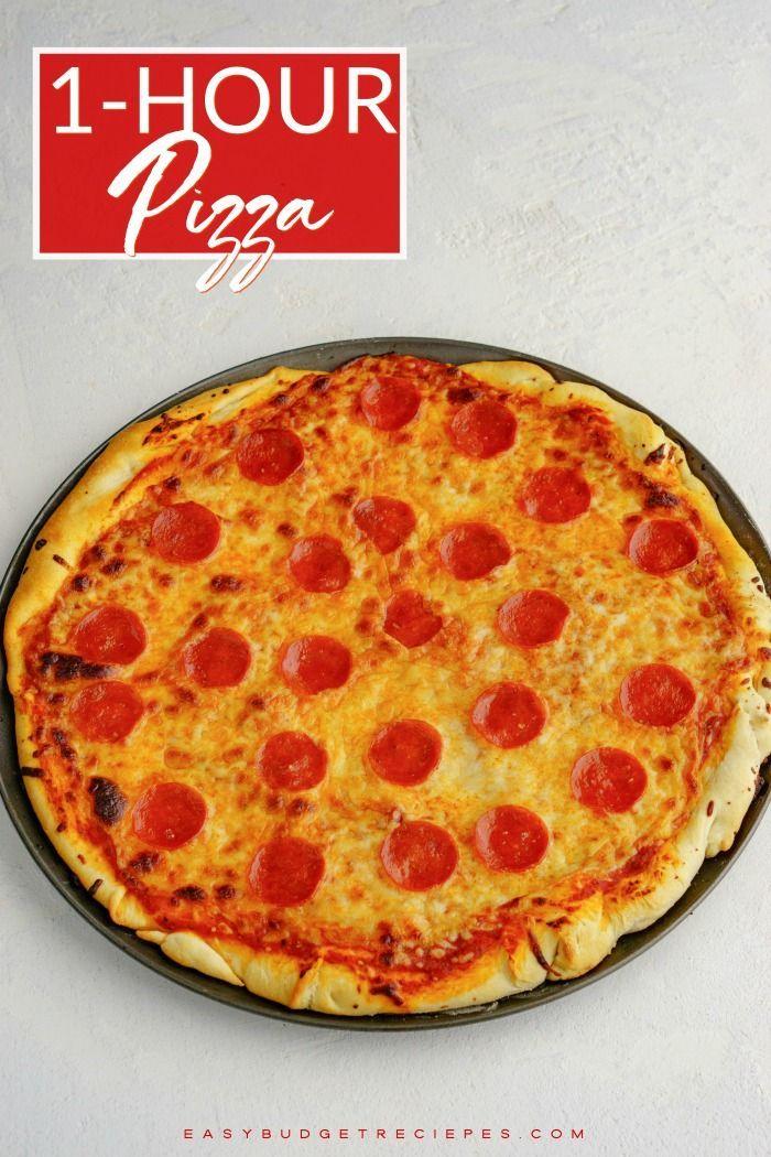 1 Hour Pepperoni Pizza Easy Budget Recipes Recipe Recipes Easy Holiday Recipes Food Processor Recipes