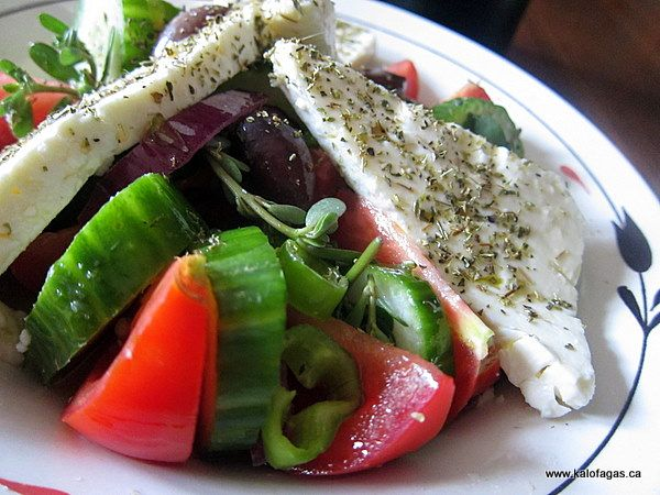 Authentic Greek Salad-it has no lettuce...and I use red pepper instead of green (my preference). Don't forget to add the capers...it's salad heaven!