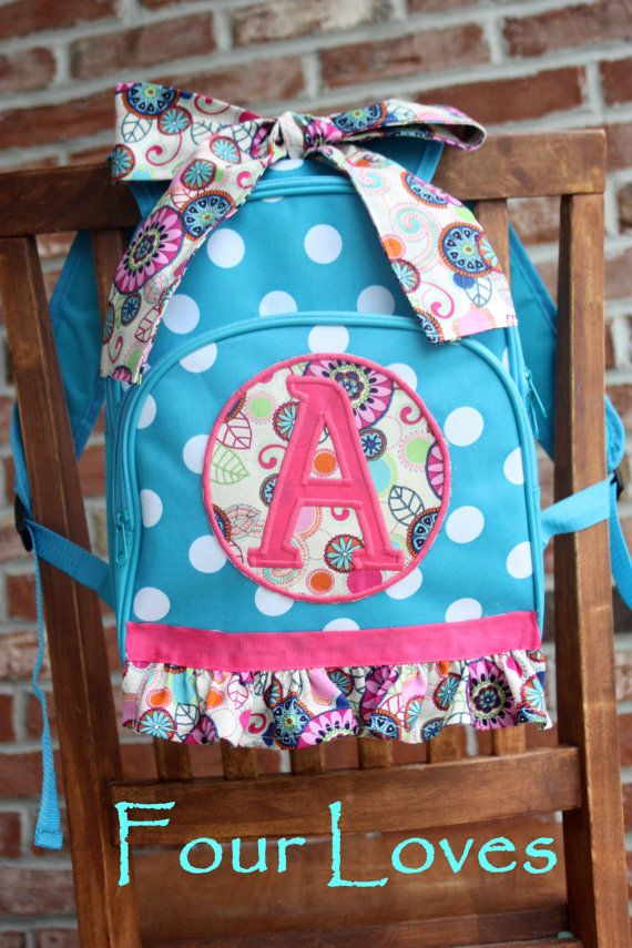 Personalized Girls Backpack Blue Polkadots Trimmed In