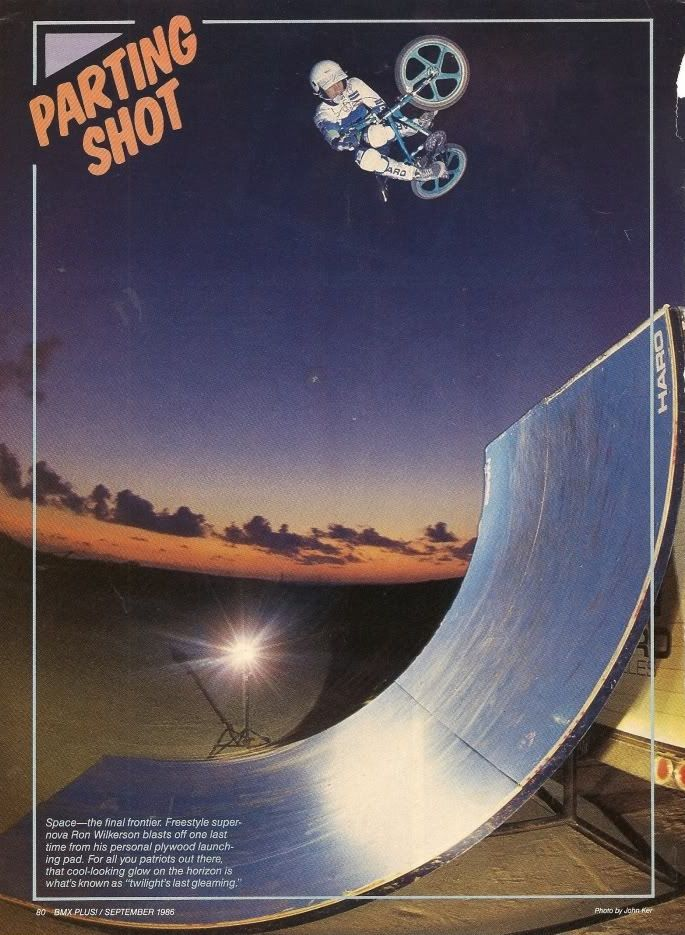 Ron Wilkerson BMX pro freestyle rider. Final photo shoot. Twilight's Last gleaming.