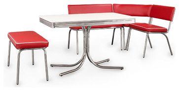 Coaster Fine Furniture Retro Chrome Corner Nook Dining Set, Red Vinyl midcentury-dining-sets
