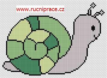 Snail, free cross stitch patterns and charts - www.free-cross-stitch.rucniprace.cz