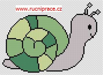 Snail, free cross stitch patterns and charts - www.free-cross-stitch.rucniprace.cz