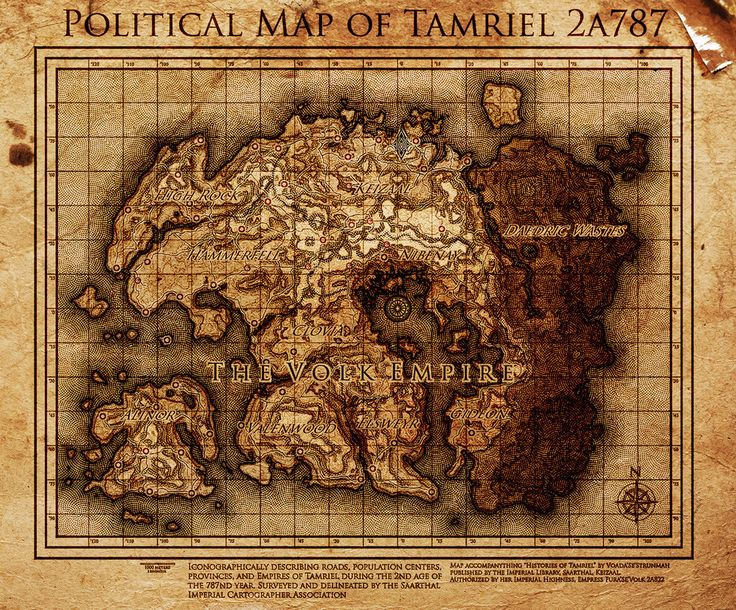 Elder Scrolls The Volk Empire Map Of Tamriel By