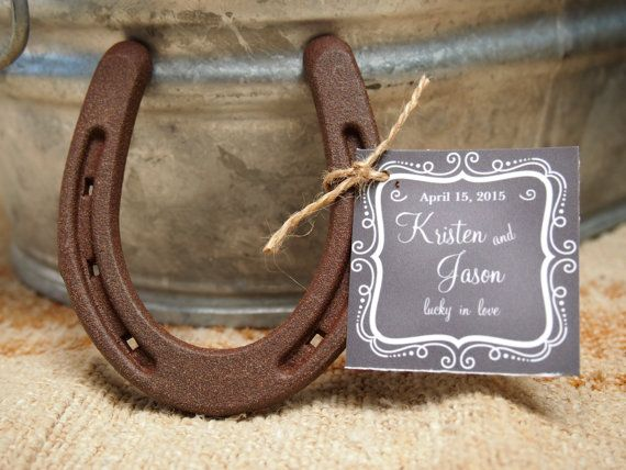 24 - Lucky Horseshoe Wedding Favors - Personalized Chalkboard Tag Design - Rustic Favors // Rustic Bridal Shower // Cowboy Shower Favors on Etsy, $118.80