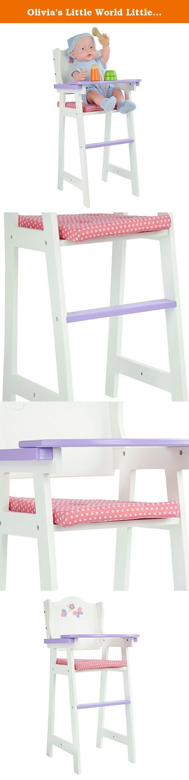 """Olivia's Little World Little Princess 18"""" Baby Doll High Chair in Pink/Multi. Olivia's Little World Little Princess 18-Inch Baby Doll High Chair in Pink/Multi Your little one will love the Little Princess 18-Inch Baby Doll High Chair from Olivia's Little World when it's time to play with her dolls. The safe and sturdy design with purple tray area and padding accommodates dolls up to 18 inches tall. Perfect for playtime, your little one will enjoy the Little Princess 18-Inch Baby Doll High..."""