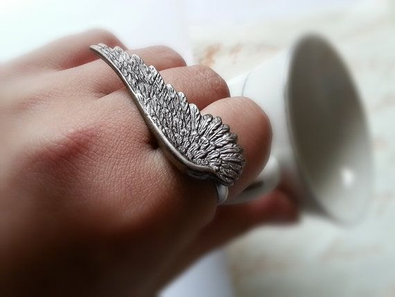 Antique Silver Feather Angel Wing Ring Silver Adjustable Ring Statement Ring Stacking Ring Cocktail Ring Woodland Jewelry Christmas Gift on Etsy, $295.70