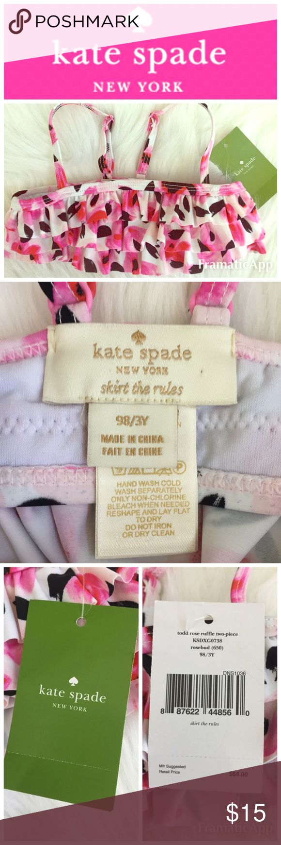 """🎉HP🎉♠️Kate Spade NY (Child's 3 yrs) BikiniTop 👙 Adorable ♠️Kate Spade """"skirt the rules"""" toddler rose ruffled two-piece bikini👙 top ONLY, it can easily be matched up with a solid color bottoms // Brand New with Tag.        🚭SMOKE FREE🚭BUNDLE & SAVE🛍🛍 kate spade Swim Bikinis"""