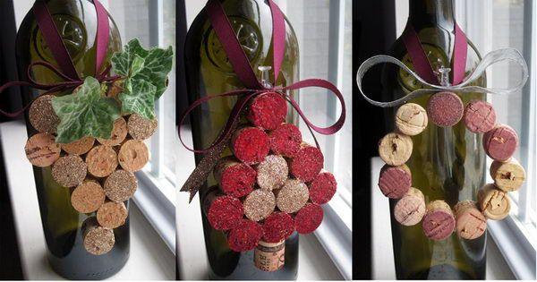 DIY del corcho del vino adornos de navidad.