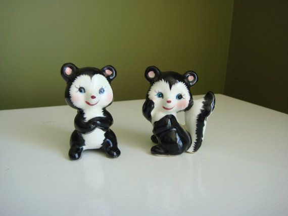 Figurines Vintage Skunk rougir bébé mouffettes ensemble de deux - Made in Japan - Epsteam