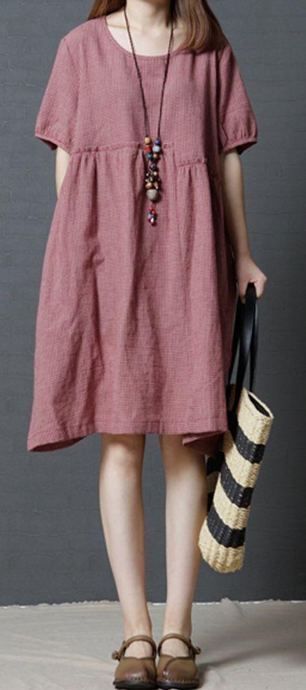 Details über Frauen locker plus Größe Checkers Tasche Kleid Skater Tunika schwangere Mode – women casual loose fitting dress tunic