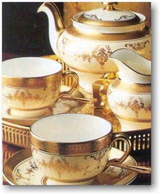 Minton...vintage gold and white tea set