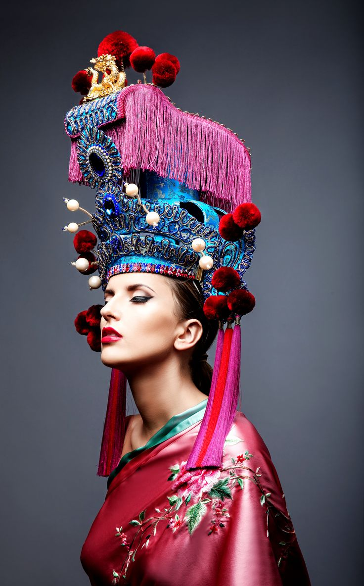 """""""Dancing Dragon"""" Chinese Opera Headdress Hat, created by Anya Caliendo.Alternative side view. Photographed by Ed Hafizov. All rights reserved to @anyacaliendo ."""