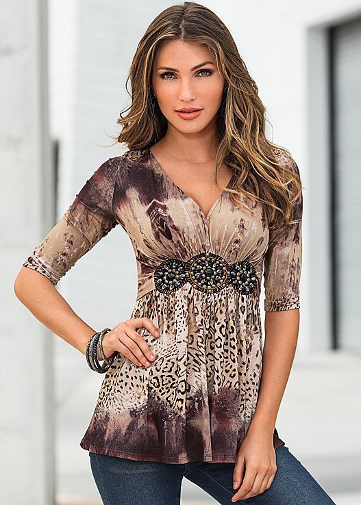 Brown Multi Jeweled animal print top from VENUS. Sizes XS-XL!