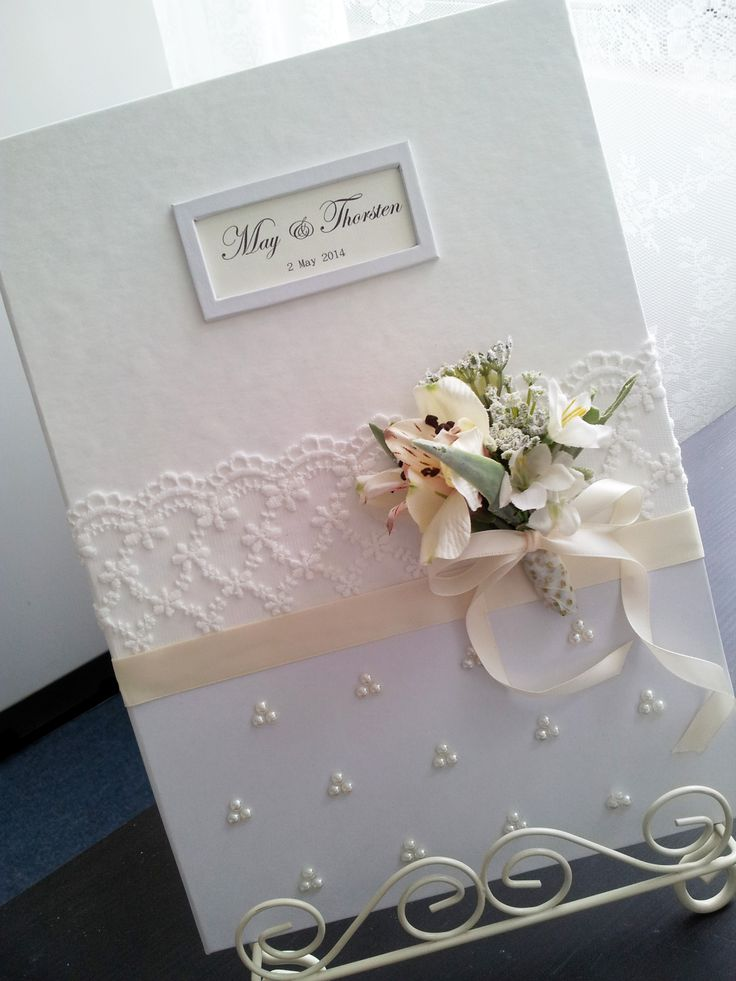 Pegeo Wedding Certificate Holder / silver white with lace