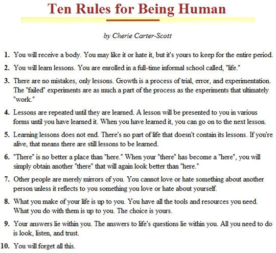 Ten Rules for Being Human: Interesting Perspective, Numbers 10, Life Lessons, Human Tobekeptinmind, 10 Rules, I M Human, Lessons Devotions, Meta Pictures, Cheri Carter Scott
